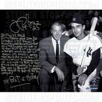 Joe Pepitone Signed w/ Joe Dimaggio B/W 16x20 Story Photo