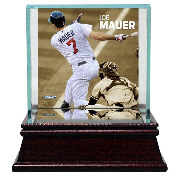Joe Mauer Swinging Background Glass Single Baseball w/ Authentic Target Field Dirt