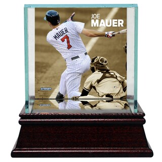 Joe Mauer Swinging Background Glass Single Baseball w/ Authentic Target Field Dirt