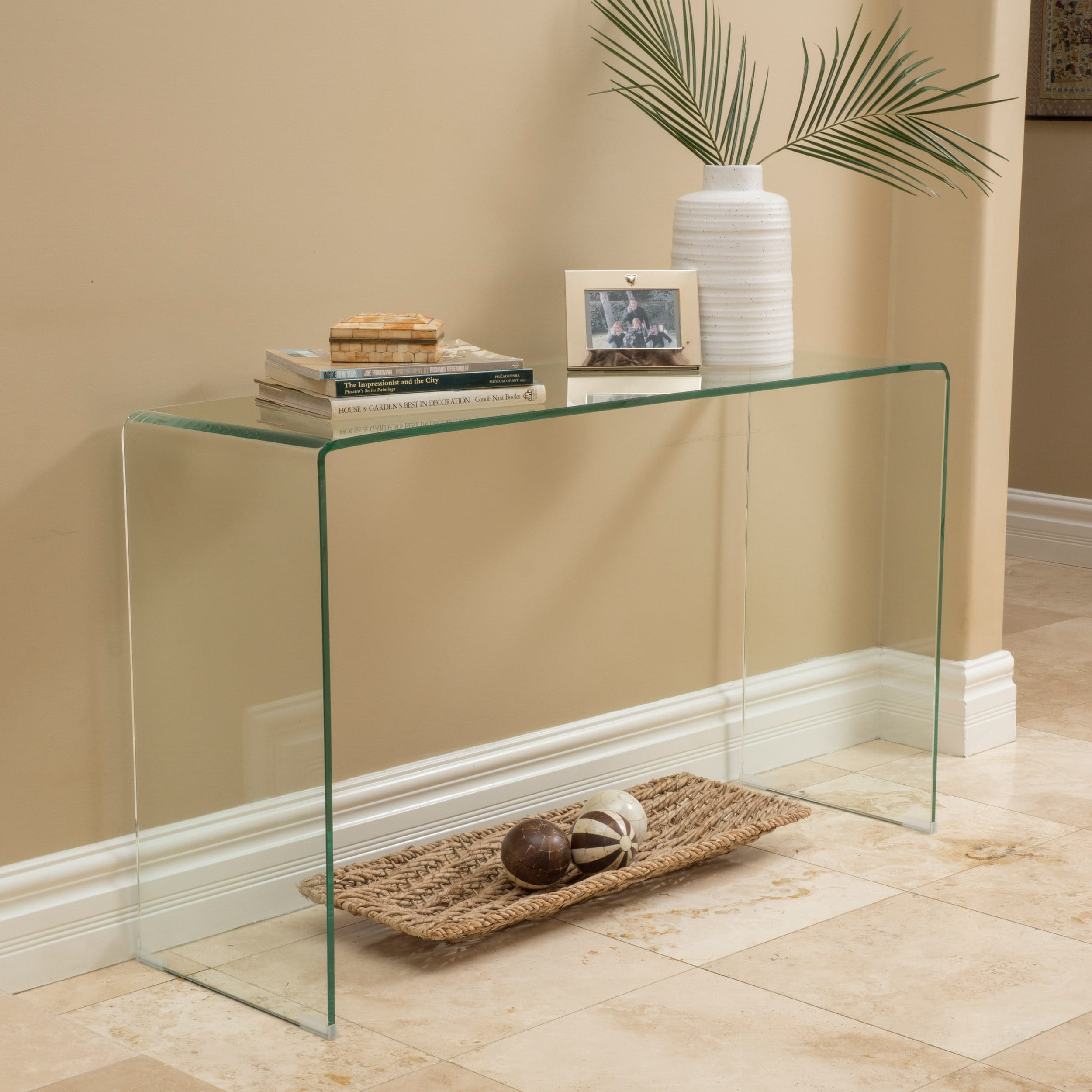 Ramona Glass Console Table by Christopher Knight Home (Tr...