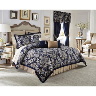 Croscill Imperial Chenille Jacquard Woven Damask 4 Piece Comforter Set