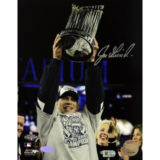 Joe Girardi with 2009 World Series Trophy Vertical 8x10 Photo ( MLB Auth)