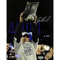 Joe Girardi with 2009 World Series Trophy Vertical 8x10 Photo ( MLB Auth)