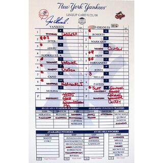 Joe Girardi 2008 Yankees Final Game Replica Line Up Card