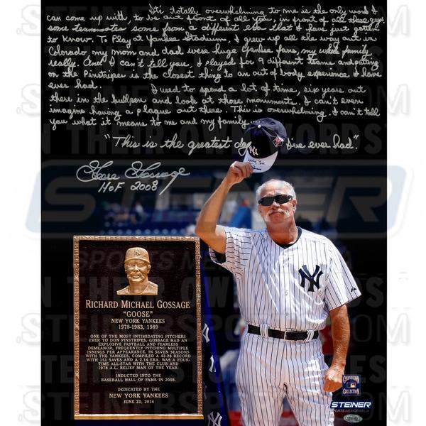 "Goose Gossage at Yankee Stadium for Goose Gossage Day Signed 16x20 Story Photo w/ HOF""Insc."