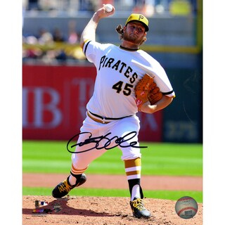 Gerrit Cole Signed Pittsburgh Pirates in White Uniform Pitching 8x10 Photo