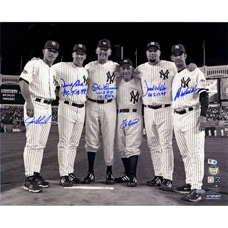Final Game at Yankee Stadium Perfect Game Battery Mates Signed Metallic B/W 16x20 Photo w/ PG Insc (MLB Auth) (6 Signatures)