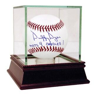 "Duffy Dyer Signed MLB Baseball w/ ""Mets 4, Orioles 1"" Insc"