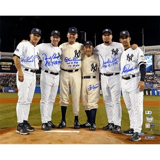 Final Game at Yankee Stadium Perfect Game Battery Mates Signed Metallic 16x20 Photo w/ PG Insc (MLB Auth) (6 Signatures)