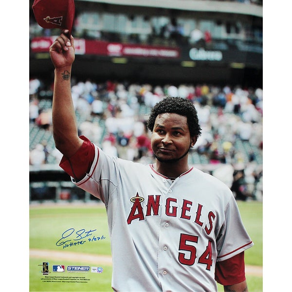 """Ervin Santana Angels Road Jersey Salute To The Crowd Vertical 16x20 Photo w/"""" No Hitter, 7/27/11"""" Insc (MLB Auth)"""