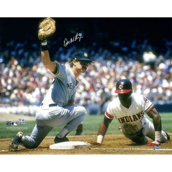 Don Mattingly NYY Road Jersey Tagging Horizontal 16x20 Photo (MLB Auth) Signed in Silver