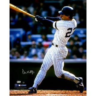 Don Mattingly NYY Home Jersey Swinging Vertical 16x20 Photo (MLB Auth) Signed In Silver