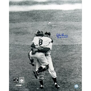 Don Larsen Signed Perfect Game Hug B/W 16x20 Photo w/ PG insc