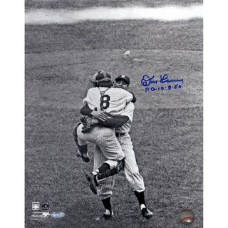 Don Larsen Signed Perfect Game Hug B/W 11x14 Photo w/ PG insc