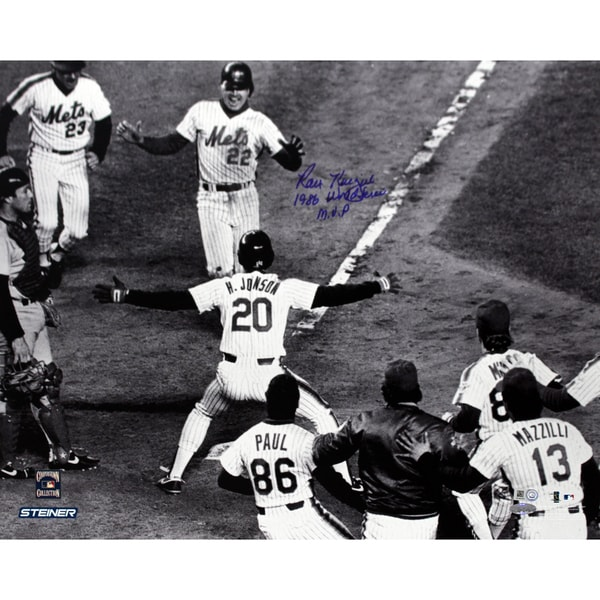 Ray Knight Crossing Home 86 WS B/W 16x20 with 1986 World Series MVP Insc (MLB Auth)