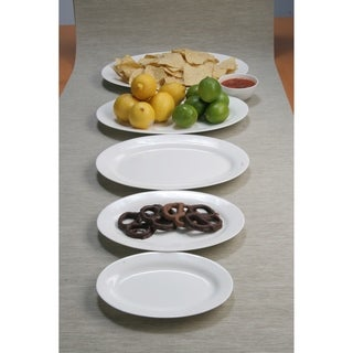 Pure Vanilla 12-inch Oval Serving Plates (Set of 4)