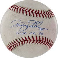 """Randy Wells Signed Rockies at Cubs 5-17-2010 Game Used Baseball w/ """"6.2 IP, 1 ER, 3 K"""" Insc. (MLB Auth)"""