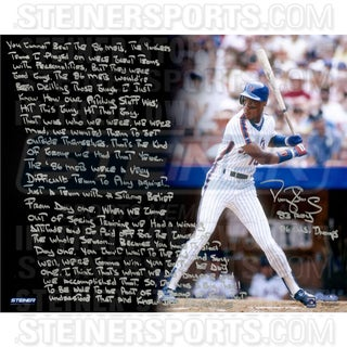 Darryl Strawberry Signed Mets Uniform 16x20 Story Photo