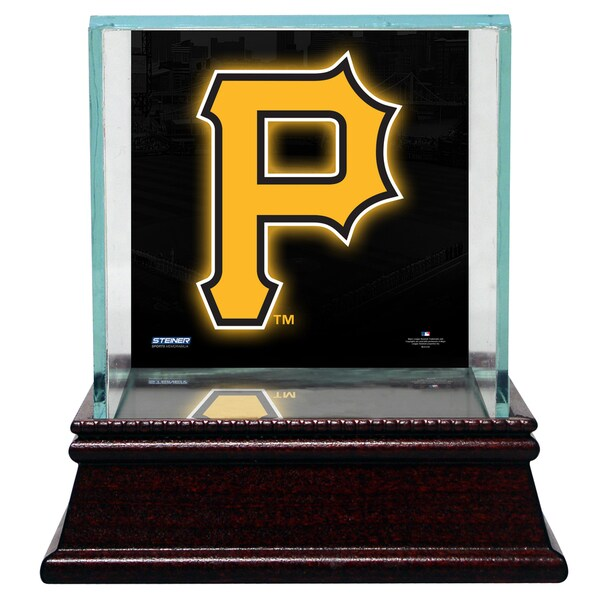 Pittsburgh Pirates Glass Single Baseball Case with Team Logo Background