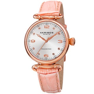 Akribos XXIV Women's Quartz Diamond Leather Strap Watch