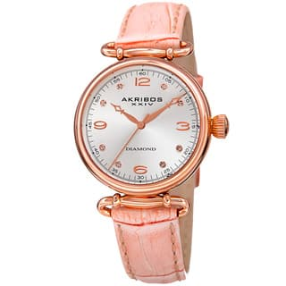 Akribos XXIV Women's Quartz Diamond Leather Strap Watch with FREE GIFT - Pink|https://ak1.ostkcdn.com/images/products/11205058/P18194024.jpg?impolicy=medium