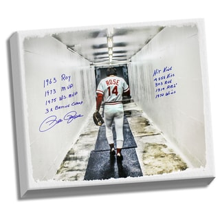 "Pete Rose Signed 28x35 Canvas In Tunnel w/ "" 9 Insc."" ( Signed in Blue)"
