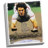 Pete Rose Signed 28x35 Canvas Head First Slide w/ 9 Insc.