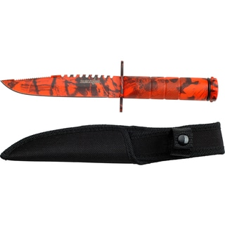 Survivor Red Camo Double Reverse Serrated Fixed Blade Knife with Survival Kit
