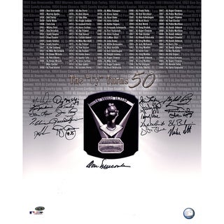 "Cy Young Award Winners Multi-Signed ""Cy Turns 50"" 16x20 Photo (21 Signatures-Glavine/Cone/Guidry/Fingers/Perry/Turley)"
