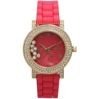 Olivia Pratt Women's Silicone Care Free Rhinestone Watch