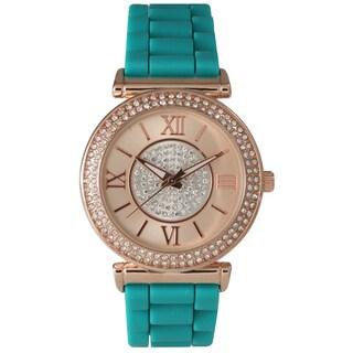 Olivia Pratt Women's Silicone Center Sparkle Watch (Option: Green)