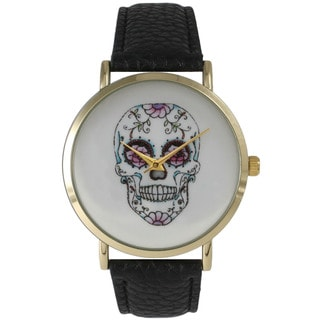 Olivia Pratt Women's Leather Airbrush Skull and Roses Watch