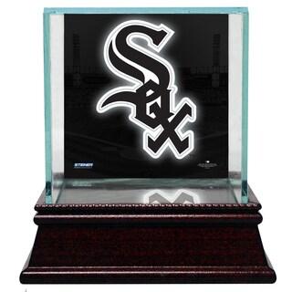 Chicago White Sox Glass Single Baseball Case with Team Logo Background