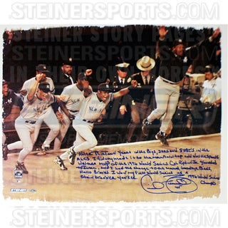 Cecil Fielder Signed Celebrating WS Win 22x26 Story Canvas