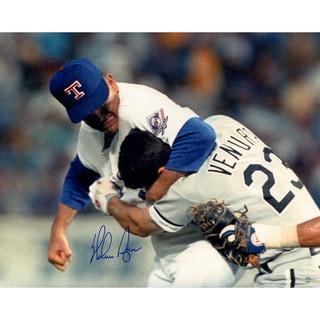 Nolan Ryan Signed Ventura Fight Horizontal 16x20 Photo
