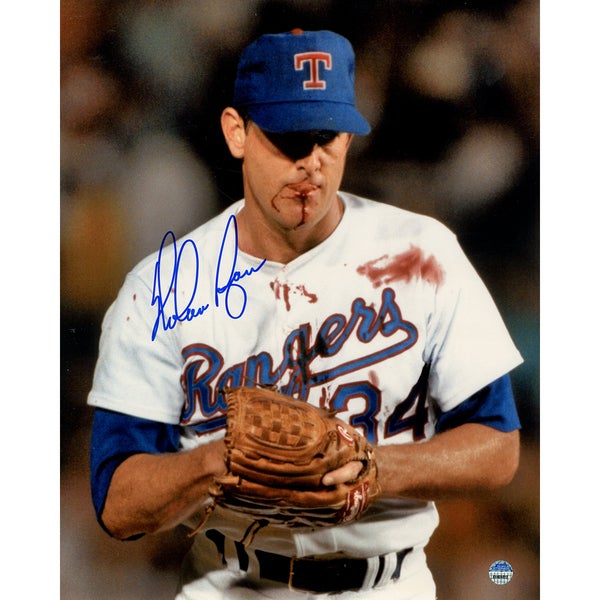 Nolan Ryan Signed Bloody Lip 8x10 Photo