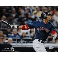 Carl Crawford Boston Red Sox Blue Jersey Hit Horizontal 8x10 Photo (MLB Auth)