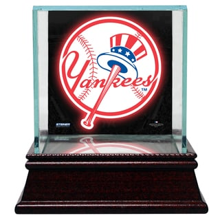 New York Yankees Glass Single Baseball Case with Team Logo Background