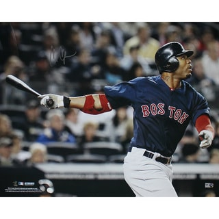 Carl Crawford Boston Red Sox Blue Jersey Hit Horizontal 16x20 Photo (MLB Auth)