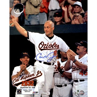 Cal Ripken Jr. Signed '2632' Vertical 16x20 Photo w/ Text Overlay (Signed in Blue) (MLB Auth)