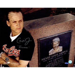 "Cal Ripken Jr Signed w/ ""Ironman"" Inscrip. In front of Gehrig monument 16x20 Photo (Ironclad Holo)"