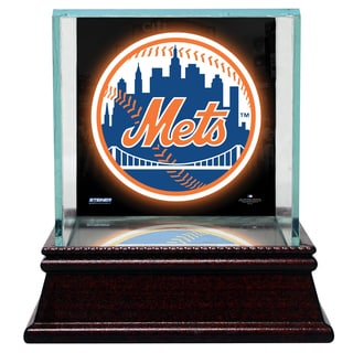 New York Mets Glass Single Baseball Case with Team Logo Background