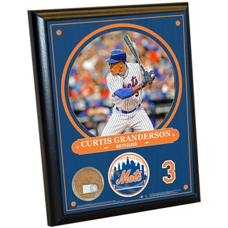 New York Mets Curtis Granderson 8x10 Plaque with Game Used Dirt from Citi Field