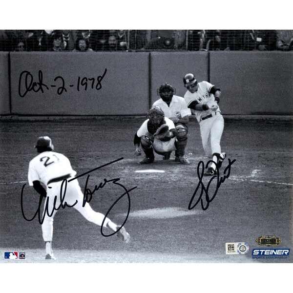 "Bucky Dent/ Mike Torrez Dual Signed 1978 Home Run 8x10 Photo w/ ""Oct-2-1978"" Insc by Dent (MLB Auth) (Signed in Black)"