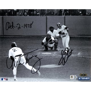 """Bucky Dent/ Mike Torrez Dual Signed 1978 Home Run 8x10 Photo w/ """"Oct-2-1978"""" Insc by Dent (MLB Auth) (Signed in Black)"""