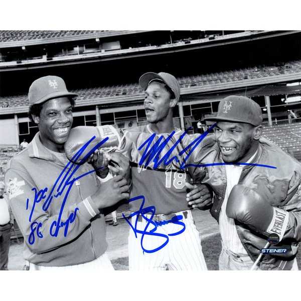 Mike Tyson, Dwight 'Doc' Gooden & Darryl Strawberry Triple Signed 8x10 Photo w/ Dwight Gooden Inscription