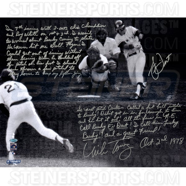 Mike Torrez/Bucky Dent Signed 1978 American League East Tie-Breaker game 16x20 Story Photo