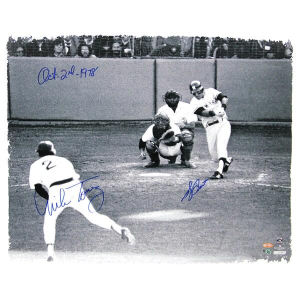 "Bucky Dent 1978 Playoff HR vs Mike Torrez Dual Signed 22X26 Canvas w/ ""10-2-1978"" Insc by Torrez (MLB Auth)"