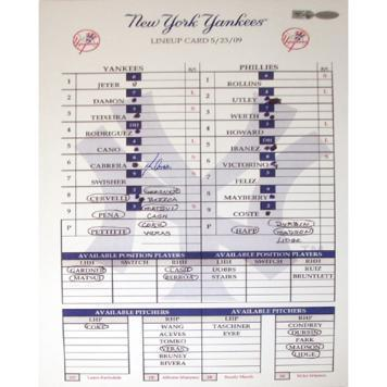 Melky Cabrera Yankees 5-23-2009 Replica Line up Card