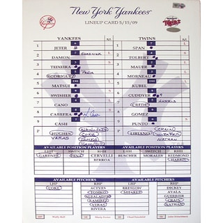 Melky Cabrera Yankees 5-15-2009 Replica Lineup Card